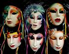 (LOT of 6) About Face Clay Art Pottery Masks San Francisco w Ribbons 1980s