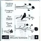 Nice Stampin Up SILHOUETTE SENTIMENTS Flowers Bird Congrats Set 8 Wood Stamps