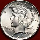 Uncirculated 1924 Philadelphia Mint Silver Peace Dollar Free S H