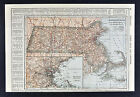 1917 Poates Map - Massachusetts - Boston Cape Cod Martha's Vineyard Worcester MA
