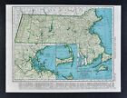 c1930 Rand McNally Map Massachusetts Boston Cape Cod Martha's Vineyard Worcester