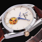 GOER Mens White Dial Steampunk Watch Leather Skeleton Auto Mechanical Wristwatch