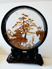 VTG HAND CARVED CORK VILLAGE PAGODA BLACK LACQUER GLASS SHADOW BOX LIONS STAND