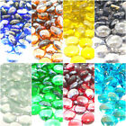 Round Glass Pebbles Stones Nuggets Beads Button Lots Quantities  Colours NEW