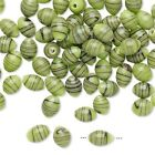 100 Vintage Japanese Opaque Lt Green Black Stripes 7x4mm Oval Glass Bead Mix