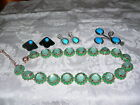 Vintage Jewelry Lot Beautiful Unique Green NecklaceBrooch ERs Turquoise Colors