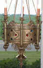 Chandelier Antique 1800's Brass Medieval Russian Church Gothic Crystal VIDEO