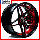 22 MQ 3259 WHEELS BLACK WITH RED INNER STAGGERED RIMS 5x120 FIT BMW