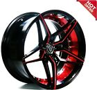 22 MQ M3259 WHEELS BLACK WITH RED INNER STAGGERED RIMS Deep Concave