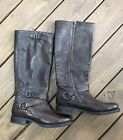 NEW Frye Veronica Criss Cross Tall Maple Brown Leather Boots US 9 378