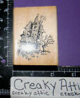 HAUNTED HOUSE GHOST RUBBER STAMP STAMPENDOUS H51 HALLOWEEN
