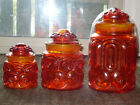 Vintage L. E. Smith Moon and Stars Red/Amberina  Canister Set Of 3 w/Tops