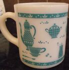4 Vtg. Turquoise and White Milk Glass Coffee Beverage Mugs Kitchen Aid Design
