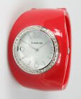 Bebe Red Resin Austrian Crystal Wide Bangle Watch. New and unworn.