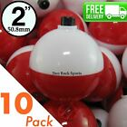 10 PACK 2 inch Round RED  WHITE BOBBERS Snap on Fishing Floats tackle