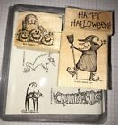 Retired 2000 Stampin Up Spooktacular Greetings Halloween Rubber Stamps