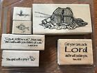 Our Daily Bread Cling Rubber Stamps Fishers of Men Wood Mount Fishing Retired