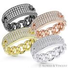 CZ Crystal Micro Pave Bar  Cuban Curb Link Chain Ring in 925 Sterling Silver