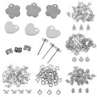 50pcs Stainless Steel Silver Charm Pendants Beads DIY Jewelry Findings Making V