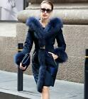 Womens Luxury Fur Collar Slim Fit Duck Down Belt Warm Overcoat Jaclet Coat Warm