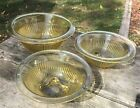 3 Vintage Gold Yellow Amber Federal Glass Nesting Mixing Bowls Depression Glass