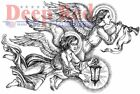 Deep Red Cling Mounted Rubber Stamp DIVINE ANGELS Christmas
