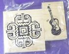 CLUB SCRAP RUBBER STAMP MEXICO MEXICAN GUITAR SET LIMITED 2 PC  FREE SHIPPING