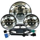 7 LED Daymaker Headlight+Passing Lights + Ring Mount for Harley Touring Silver