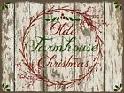 Primitive Farmhouse Christmas Pip Berries Wreath Chippy Shiplap Print 8x10