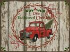 Primitive Old Red Truck Olde Fashioned Christmas Chippy Shiplap Print 8x10