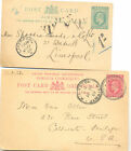 Jamaica used KEVII postal stationery cards to Liverpool and the USA