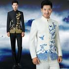 Embroidery bridegroom mens Chinese stage wedding Dress Blazers coat pants suits