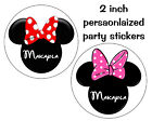 20 MINNIE MOUSE BIRTHDAY PARTY FAVORS LOLLIPOP LABELS 2 INCHES EACH
