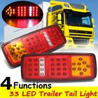 2x 12V 33 LED Stop Brake Rear Tail Light Indicator Reverse Lamp Trailer Car RV