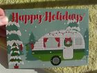 New Glittery Christmas Card with Vintage Style Pull Behind camper 5x7