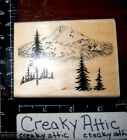 MOUNTAIN SCENE PINE TREES RUBBER STAMPS EMBOSSING ARTS 568 J