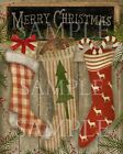 Primitive Merry Christmas Chalkboard Gingerbread Candy Cane Stockings Print 8x10
