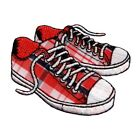 Plaid Tennis Shoes Patch Sneakers Laces Chucks Embroidered Iron On Applique
