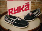 Ryka Orleans Navy Blue Leather  Plaid Slip on Boat Shoes NEW