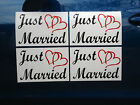 4 JUST MARRIED CAR MAGNETIC SIGNS 8X12 2 Color w Hearts FREE SHIP Wedding