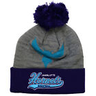 Charlotte Hornets Mitchell & Ness Heather Tailsweep Cuffed Pom Knit Hat