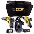 JCB 12v Cordless Drill & Impact Driver Twin Kit Charger Case 2x Worx Battery