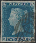 1841 SG14 2d BLUE PLATE 4 VERY FINE USED LONDON INLAND 4 THIN PAPER KJ