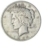 Over 90 Years Old 1922 Peace Silver Dollar 90 Silver 330