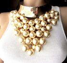 COURREGES Paris Over The Top Huge Creamy Faux Pearl Runway Collar Necklace
