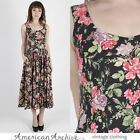 Vintage 80s Laura Ashley Dress Black Floral Boho Hippie Tea Party Midi Mini US 6