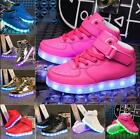 Boys and girls USB 7 LED lights glowing high shoes children casual shoes
