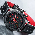 DETOMASO FIRENZE Mens Watch Chronograph Black Red Stainless Steel Leather Strap