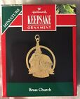 MINIATURE HALLMARK KEEPSAKE ORNAMENT 1991 BRASS CHURCH NIB