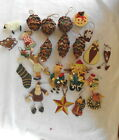 23 PRIMITIVE COUNTRY CHRISTMAS ORNAMENTS PINECONE REINDDER STOCKINGS SANTA